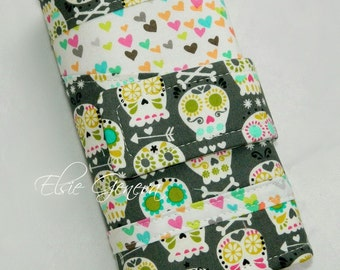 Bonehead Skulls Hearts Knitting or Crochet Hook Case Organizer Roll with Zipper Pocket Amour Soft Grip Polymer Clay Handles