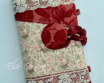 Red Lace Crochet Hook Case Organizer with Notions Zipper Pocket - Grey and Purple - Roses