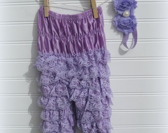 Purple Lace Petti Pants, Petti Pants & Headband Set, Shabby Headband, Petti Romper Set, Infant Photo Set, Purple Petti Romper Sz L