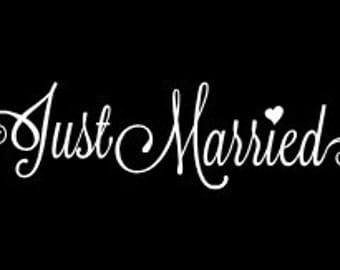 Just Married car sign vinyl decal Wedding Window Decal Wedding Sign