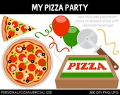Pizza Party Clipart - Digital Clip Art Graphics for Personal or Commercial Use