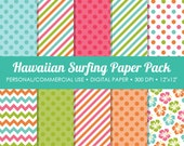 Hawaiian Surfing Digital Printable Paper Pack - For Commercial or Personal Use
