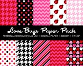 Love Bugs Digital Printable Paper Pack - For Commercial or Personal Use