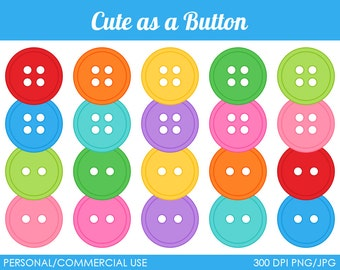 Cute as a Button Clipart - Digital Clip Art Graphics for Personal or Commercial Use