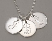Initial necklace pendant personalized sterling silver with engraved letter monograms on three (3) 1/2 inch round circle charms- 3 UDLS