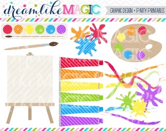 Primary Artist Painting Supplies - Clipart for Personal or Commercial Use