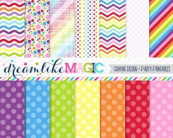 Sweet Rainbows- Digital Paper Pack for Personal or Commercial Use