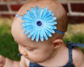 Baby Flower Headband BlueBlue Daisy with matching Vintage Button Center