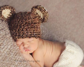 Bear HAT in NUTTY - Baby Photo prop - Photography Bear Hat Newborn - Animal Hat Baby - Bear Hat photo shoot newborns - Bear Hat Photography