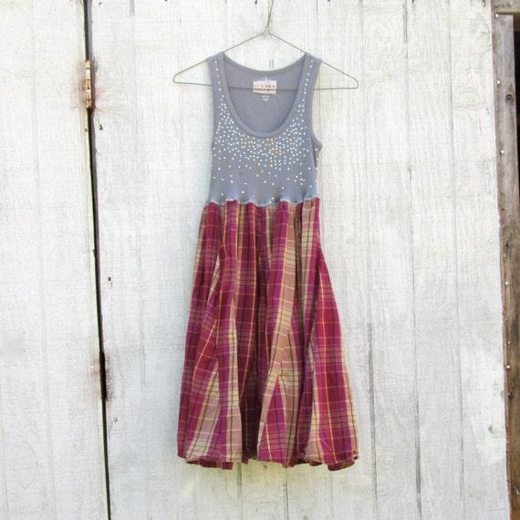 Upcycled Clothing Funky Day Tank Dress / Eco Dress
