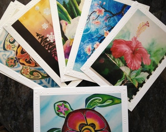 YOUR Custom PICK of 5, 10 or 20 Embossed Art Greeting, Note Cards, Sea Turtle, Starfish, snowflake, flowers, Hawaii, by Christie Marie