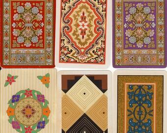 Vintage Playing Cards GEOMETRIC Folk Tapestry paper ephemera retro illustrations scrapbooking collage altered art paper Crafts 2 ea 6 design