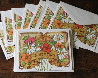 Vintage Floral Invitations paper ephemera Retro Daisies and Poppies cards party invitations set of 10 with envelopes