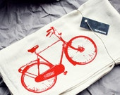 Tea Towel with Red Bike Print - Housewares - Eco-Friendly Flour Sack Tea Towel -  Eco-Friendly - Napkin