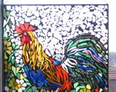 Rooster ,Stained Glass Mosaic, ROOSTER , Wall Art Panel, WINDOW Panel, SUNCATCHER