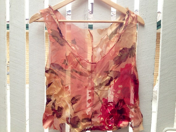 Into the Woods -Sheer Silk Burnout Top. Peach Silk Chiffon Blouse. Silk Flower Blouse, By RawHemline
