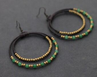 Jade Chandelier Circle Brass Earrings
