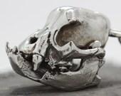 bull dog skull pendant cast in NYC white bronze