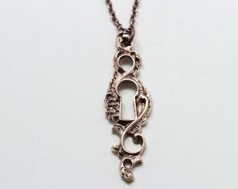 On Sale Bronze Victorian Keyhole Necklace ( bronze-plated chain) Made in NYC