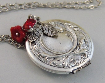 Scarlet Maiden,Locket,Silver Locket,Flower,Red,Ruby,Garnet,Antique Locket,Floral,Jewelry. Handmade jewelry by valleygirldesigns.