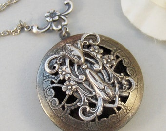Gladriale,Locket,Silver,Scent Locket,Antique Locket,Floral,Jewelry,Elf,Fairy, Handmade jewelry by valleygirldesigns.