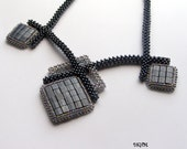 Geometric beaded grey necklace with embroidered pendants, ooak