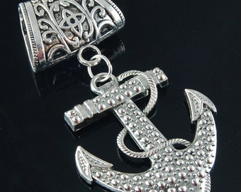 Scarf Pendant - Silver Anchor Scarf Jewelry