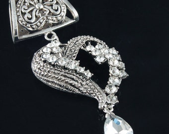 Scarf Pendant - Heart with Rhinestones Bling Scarf Jewelry