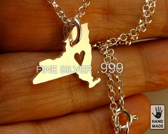 New York pure silver hand cut   pendant, sterling  silver chain, custom heart
