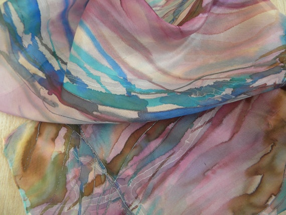 Lavendel, purple, brown, blue abstract hand painted silk scarf, Magic abstract silkscarf with healing energy by SingingScarves, Estonia