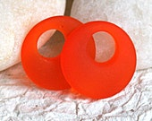 Frosted Glass Bead Cultured Seaglass Donut Orange (2 beads) 30mm or 1.25 inches - funkyprettybeads