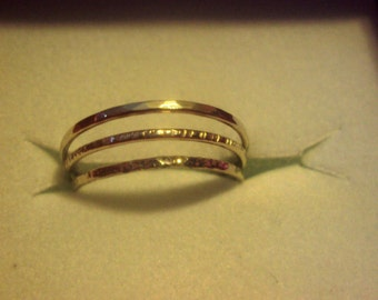 Etsy, jewelry, 10kt, solid WHITE gold, stacking rings, 18g thick, mix, stardust, lines, hammered, up to sz 8