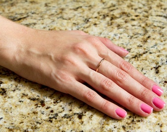 Ring, gold, band, 14g, stacking,  simple, plain, smooth, any size, etsy jewelry