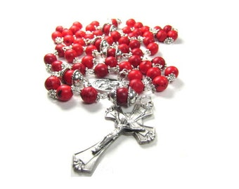 Red Turquoise Rosary with Silver Accents Handlinked