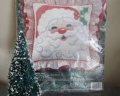 Vintage Bucilla Cross Stitch Pillow Kit Santa Face Unopened Package
