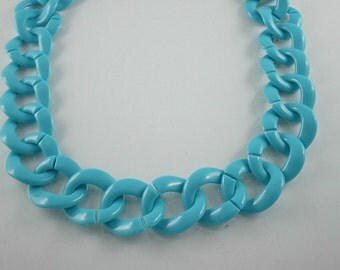 30 inch. Blue Chunky Chain Plastic Link Necklace Craft DIY (Round) (Big Size.) CRB5