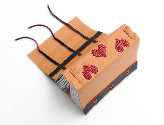 3 hearts Diary, beaded leather journal, romantic notebook, unique ooak blank book