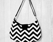 READY TO SHIP -- Black & White Chevron Bag