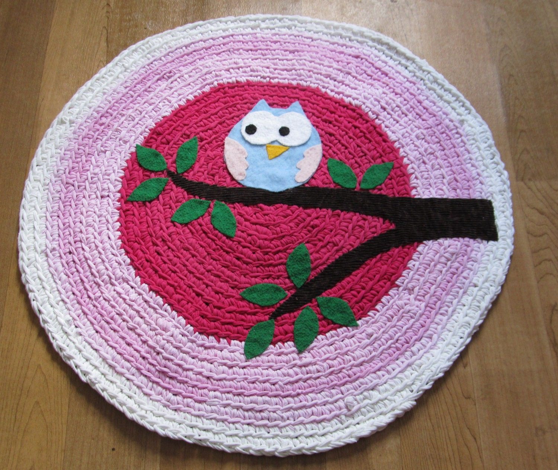 Crochet Owl Rug Pattern: OOAK Upcycled Crochet Round Rug. Owl Rug. Nursery Rug. Made To