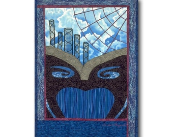 OOAK Quilt Art Wall Hanging Dream Clouds Web Surrealist Blue Black