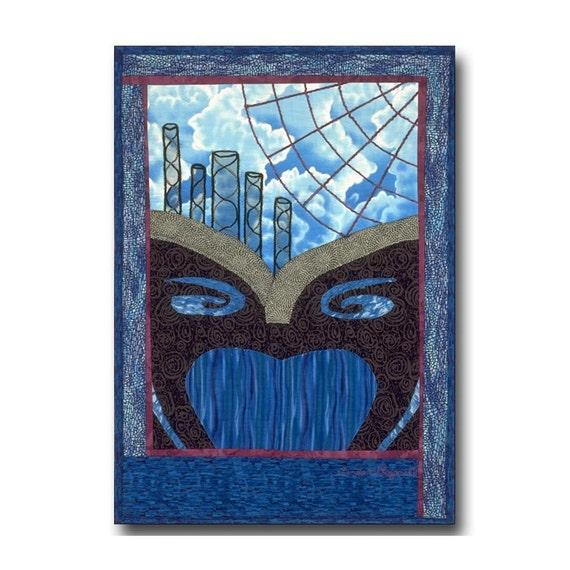 OOAK Quilt Art Wall Hanging Dream Clouds Web Surrealist Blue Black