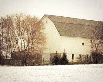 White Barn Photograph, winter barn print, rustic country decor, barn in winter photo, old country barn, white barn in winter 8x10