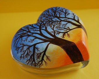 "Hand Painted ""Trees at Dusk"" Glass Heart Jewelry or Trinket Box"