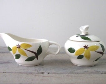 Hand Painted Sugar and Creamer Set Yellow Flowers