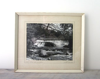 Vintage Black and White Photograph of Waterfall Matted and Framed