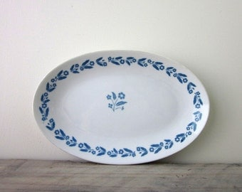 Vintage Blue and White Floral China Platter