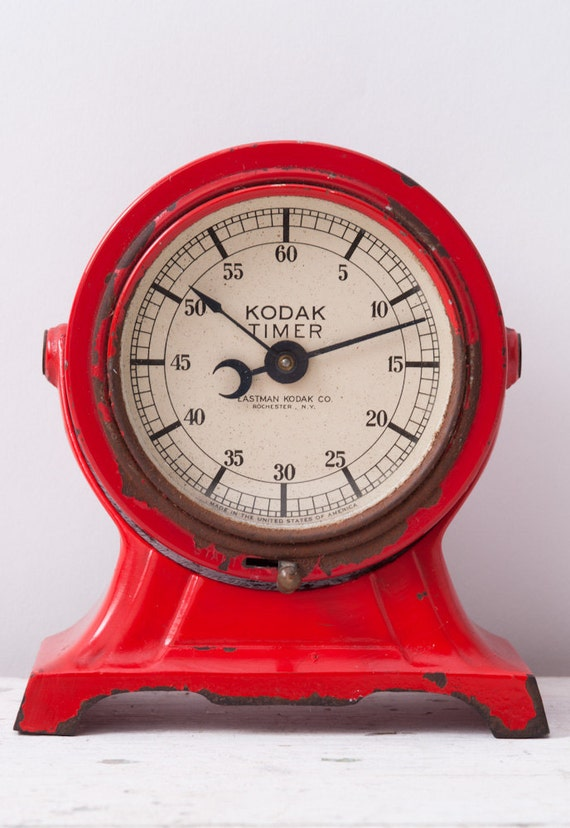 1930 S Deco Red Metal Kodak Timer Darkroom Clock By Fallaloft