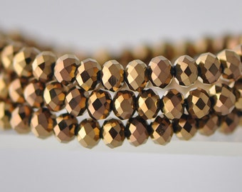 Faceted Glass Crystal Rondelle Beads 4x6mm Metallic Copper  (#BZ06-38)/ full strand