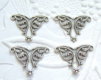 6 - Antique silver plated triangular filigree connectors, lot of (6) -  VR150
