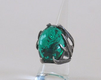 Green Emerald Gemstone Oxsidized  Style Sterling Silver Unisex  Handmade Ring Precious Stone
